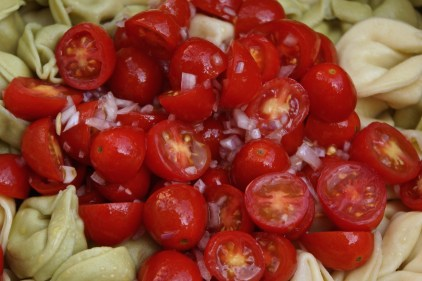 After the tortellini is cooked, toss the pasta immediately with tomatoes and salad dressing.