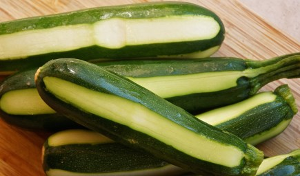 Wash and stripe zucchini using small knife.