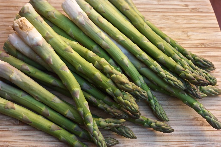 Snap off fibrous ends of asparagus..