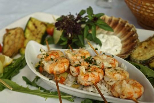 Shrimp skewers at Kapetanova Kuća.
