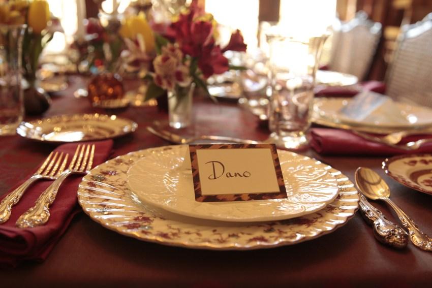 Dinner plates: Minton bone china, Ancestral pattern
