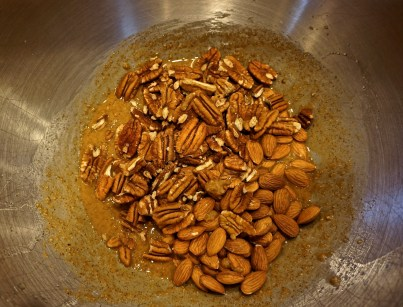 In a large bowl, combine oil, salt, honey, almond butter and sugar and mix until thoroughly combined.