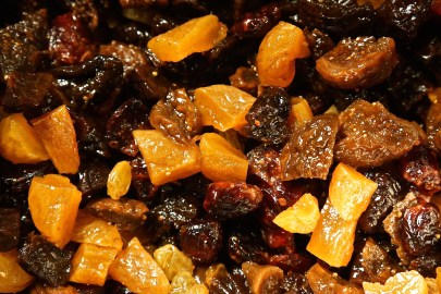 Macerate the dried fruit in the bourbon overnight.
