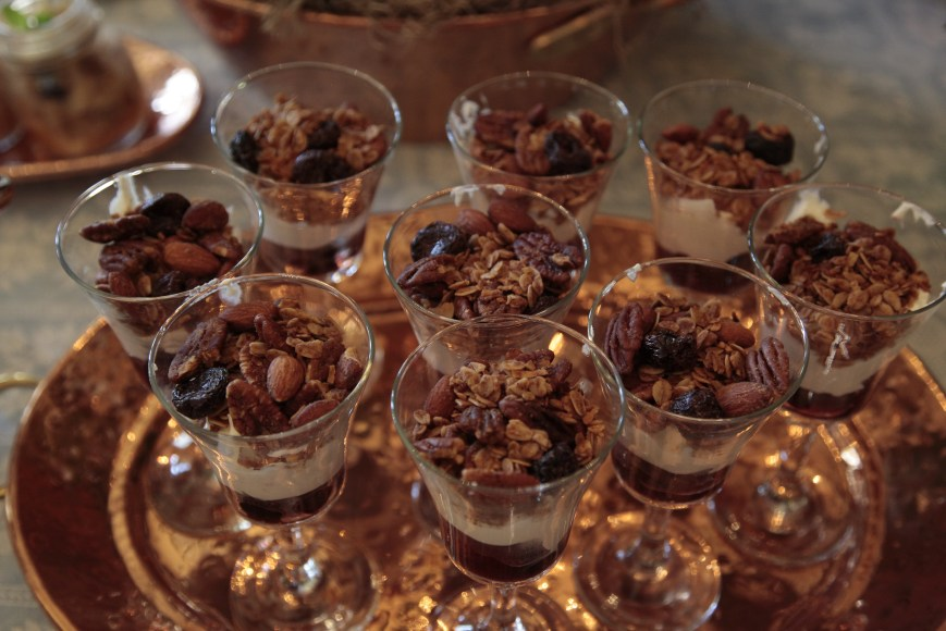 To make parfait, layer with Greek yoghurt and fresh berries or stewed fruit, or chopped apples and pears.