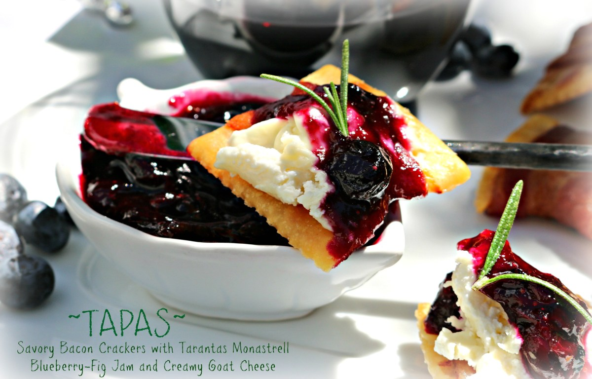 Savory Bacon Crackers with Tarantas Monastrell Blueberry-Fig Jam and Creamy Goat Cheese-WINS