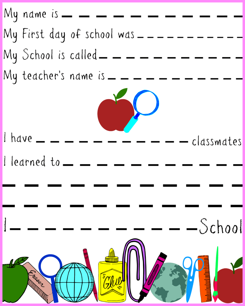 First day of school memory keepsake
