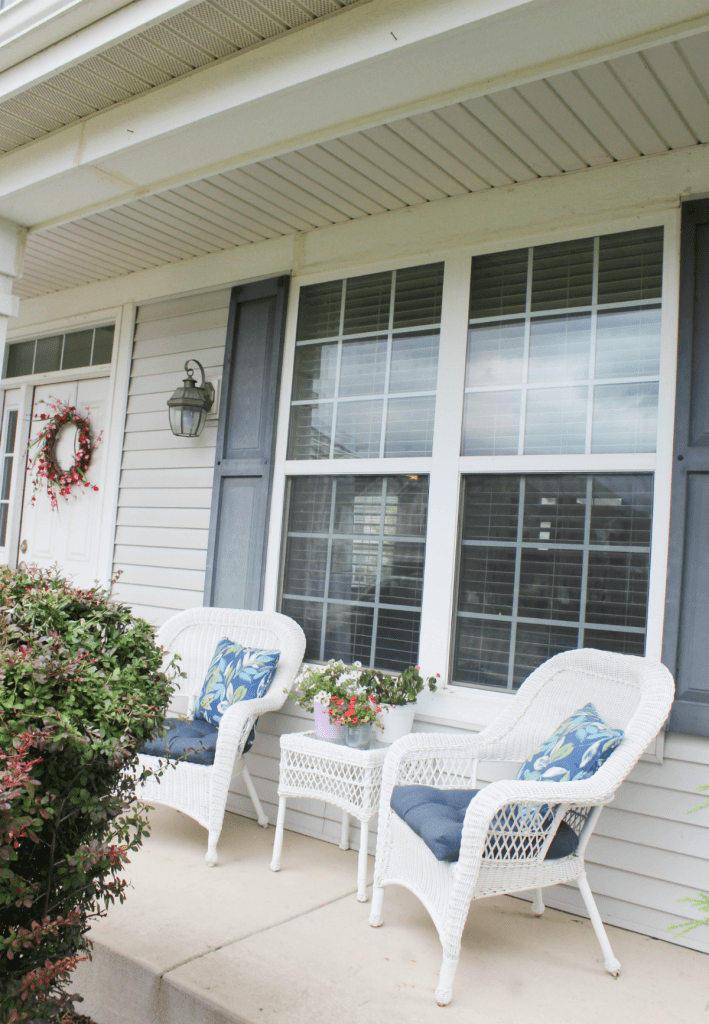 Summer Wreath - Spring Wreath - Porch Decor -Porch Chairs and Pillows- At Home With Zan-