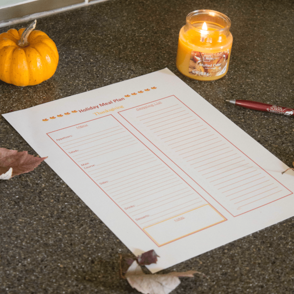 Free Thanksgiving Meal Planning Printable