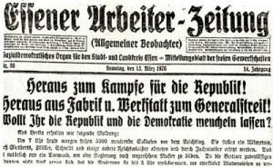 """""""Essener-Arbeiter-Zeitung"""" vom 13. März 1920"""