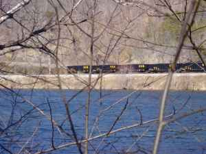 Across James River from coal train