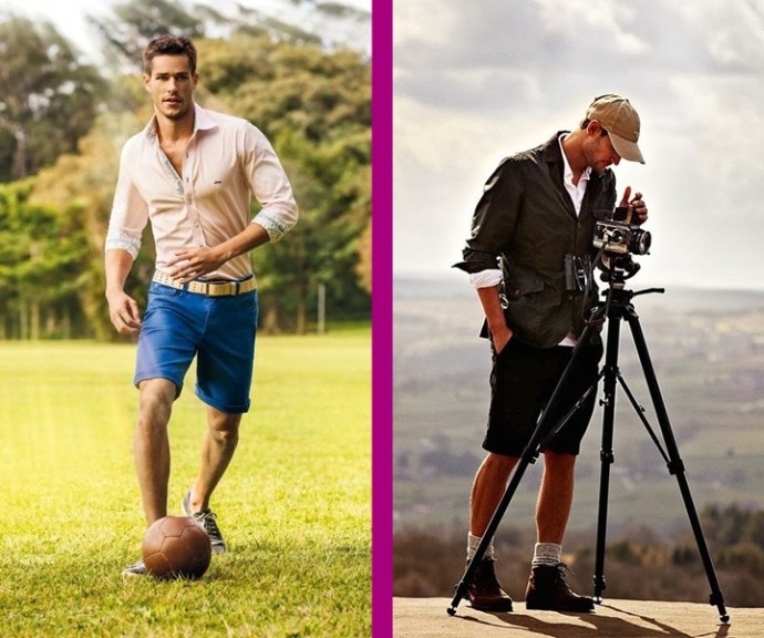Different types of medium shorts. These are the most common and versatile styles. Notice the other pieces: the shirts, the shoes and the socks (or the lack of socks)