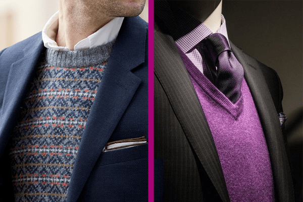 A crew neckline (L) and a v-neck sweater (R)