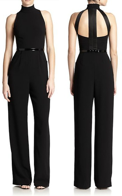Theia Crepe Belted Jumpsuit