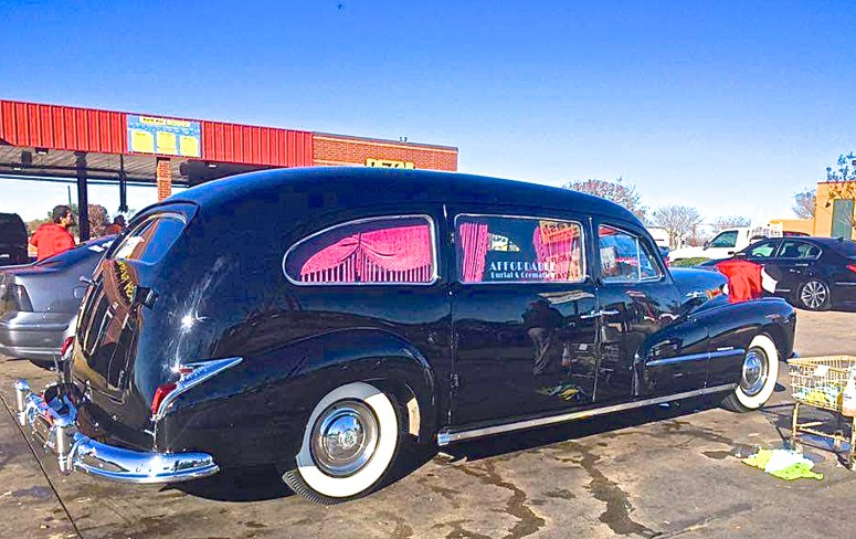 1948 Pontiac Streamliner Hearse by Superior Coach of Lima, OH, owned by Robert Falcon, Austin TX car at car wash
