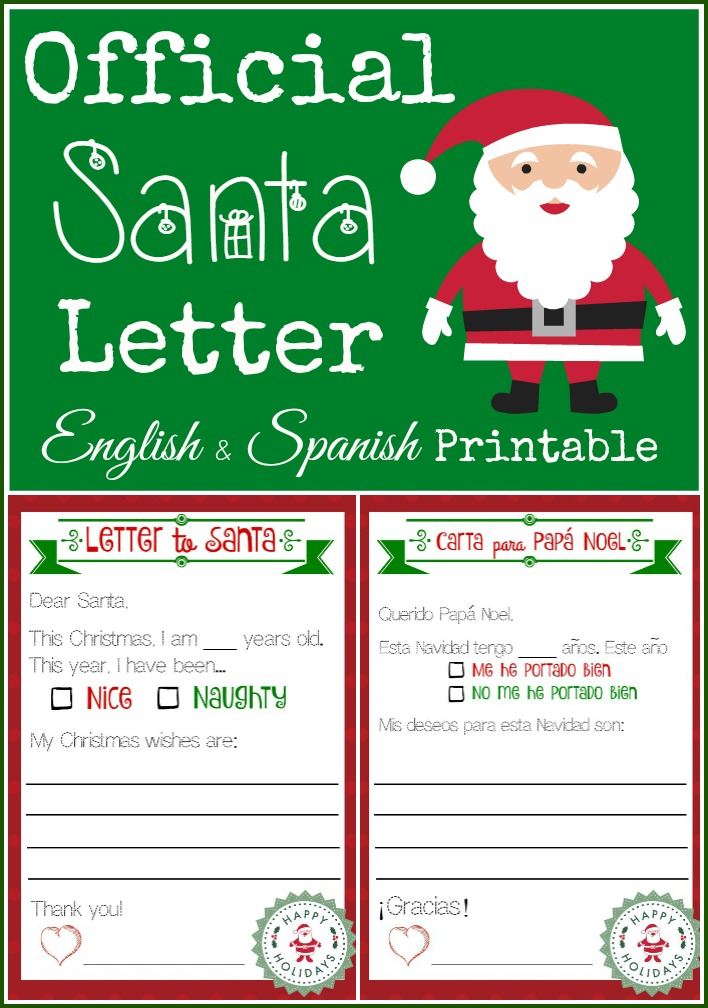 English Spanish Santa Letter Printable