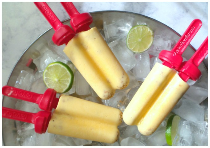 Mango Peach Frozen Yogurt Pops via Atypical Familia by Lisa Quinones Fontanez