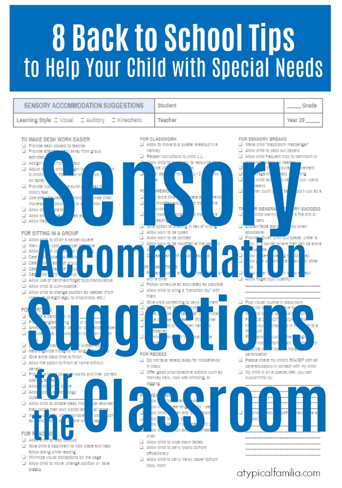Back to School Tips + Sensory Accommodation Suggestions via Atypical Familia