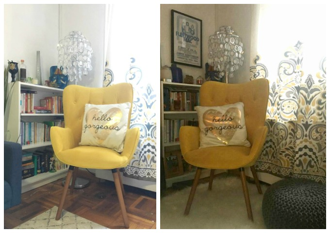 Yellow Chair Living Room Reading Corner