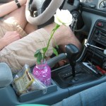 """The flower's home in the car. The center console is also known as the """"comfort station."""""""