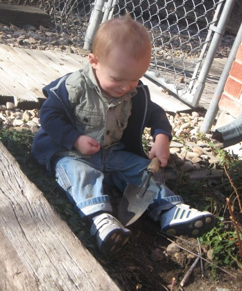 Cooper with Trowel in Hand