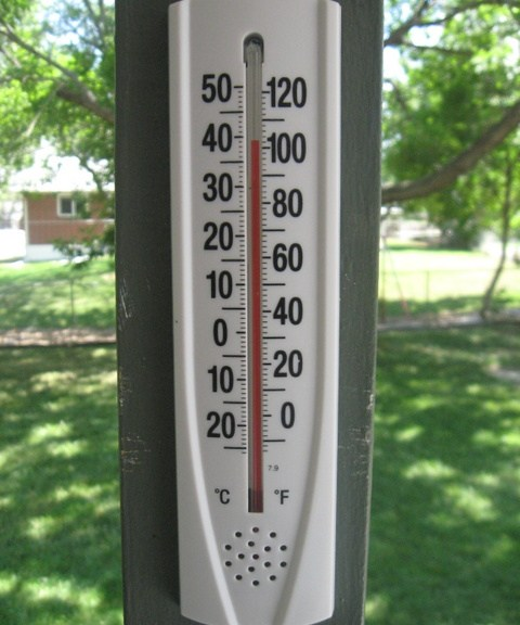 The thermometer on our porch