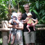 Family inside the tropical conservatory.