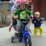 Pedaling is still a bit of a struggle, but he loves the bike nonetheless.