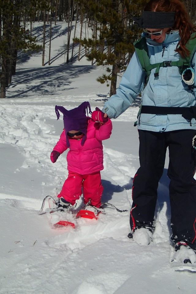 Ellen not so sure about the snowshoes