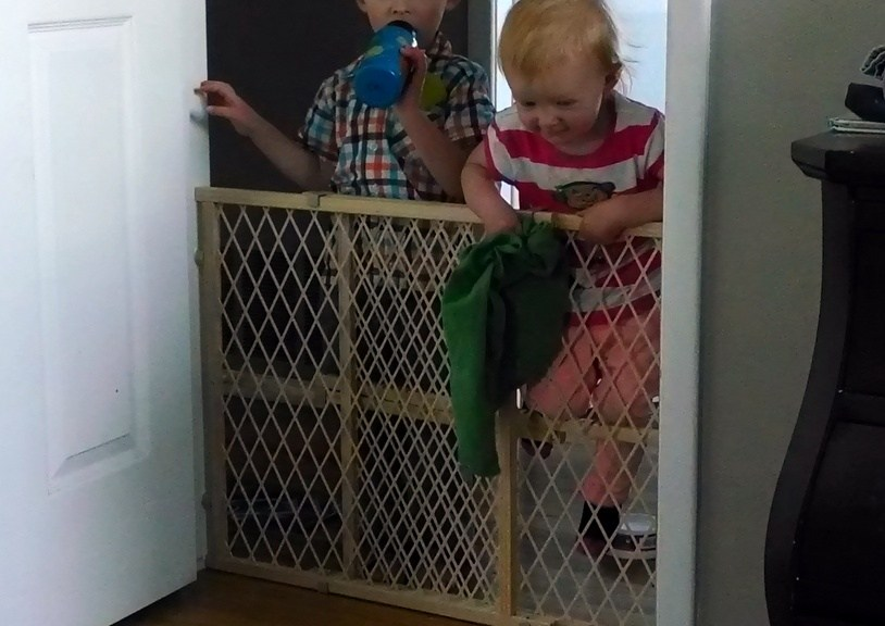 Noel put up the baby gate to quarantine me from the kids. When I was feeling better they both were in dire need of mom hugs.