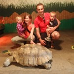 Family picture with a big turtle