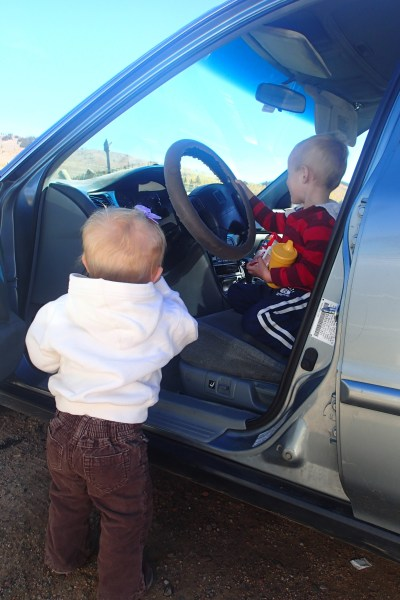 The kids practicing their driving.
