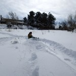 Cooper and I going for a run down the hill on sledding Saturday.