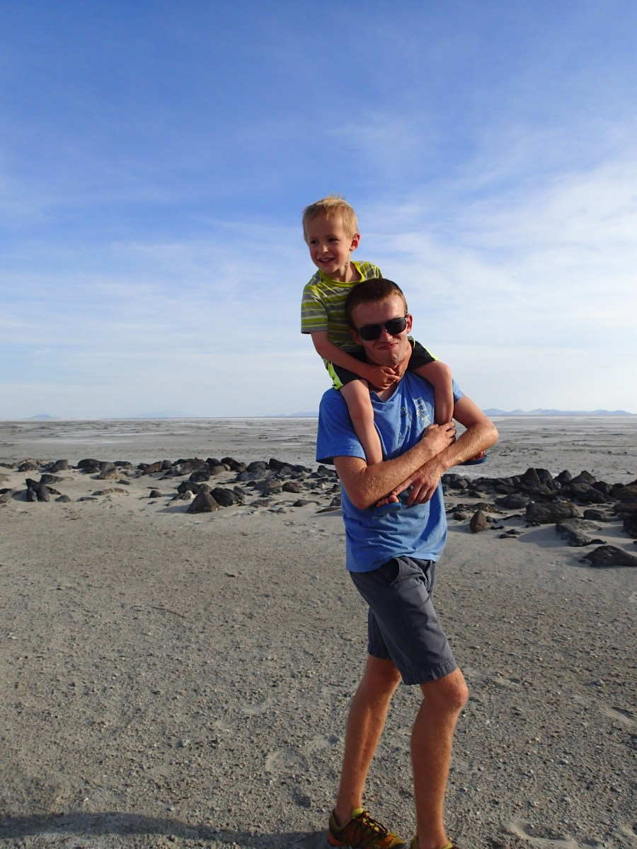Catching a ride on Uncle Mitchell at Spiral Jetty.