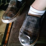 Cooper decided to be resourceful and give his shoes a little extra life . . .
