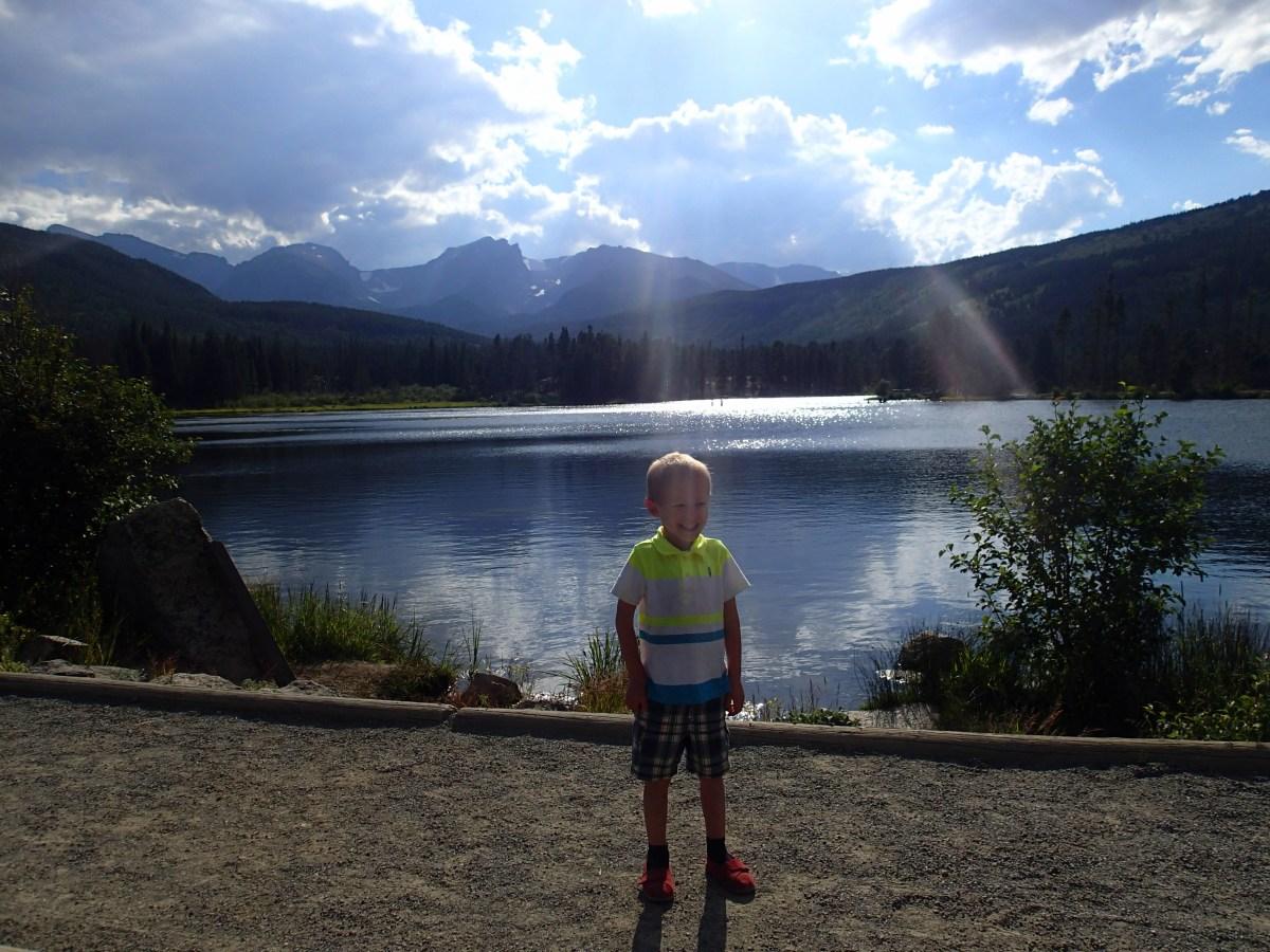 Cooper posing at Sprague Lake.