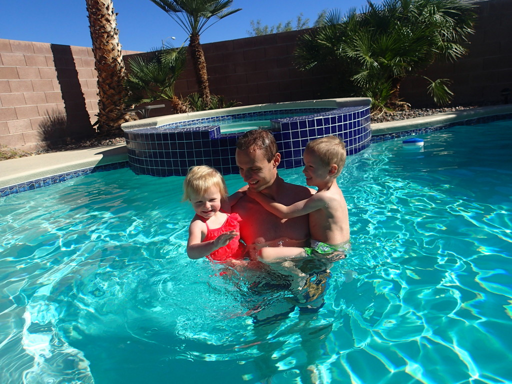 Noel in the pool with the kids.