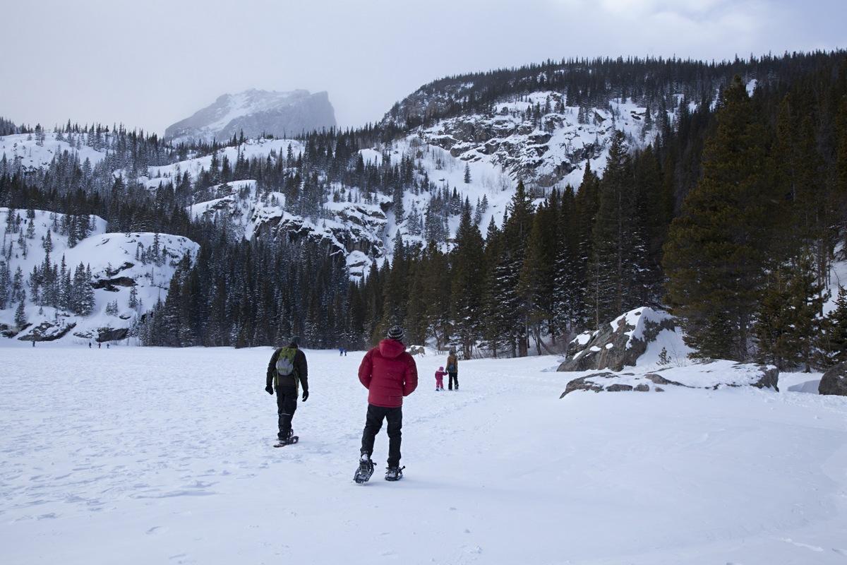 Trekking around the lake.