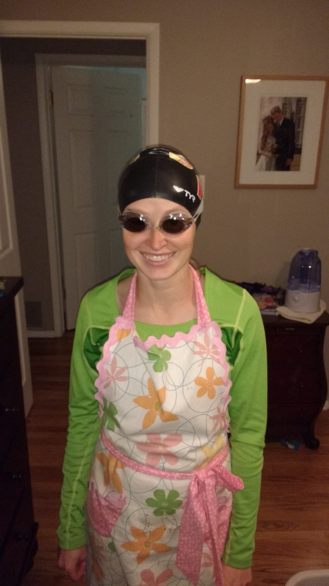 My new swim gear. Serious swimming is not necessarily sexy. (Just the cap and goggles. I generally don't wear the apron swimming.)