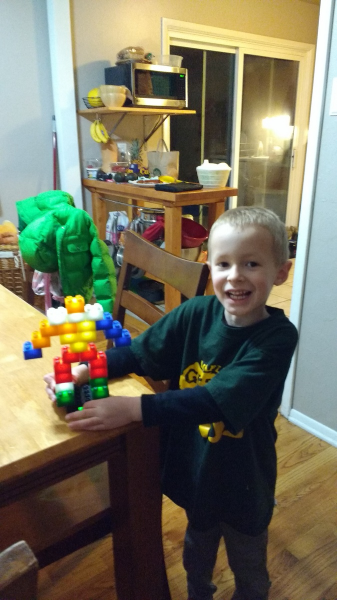 Cooper got light up legos for Christmas from Aunt Danielle and was really proud of himself when he recreated the robot on the package.