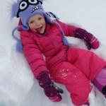 Ellen taking a break in the snow.