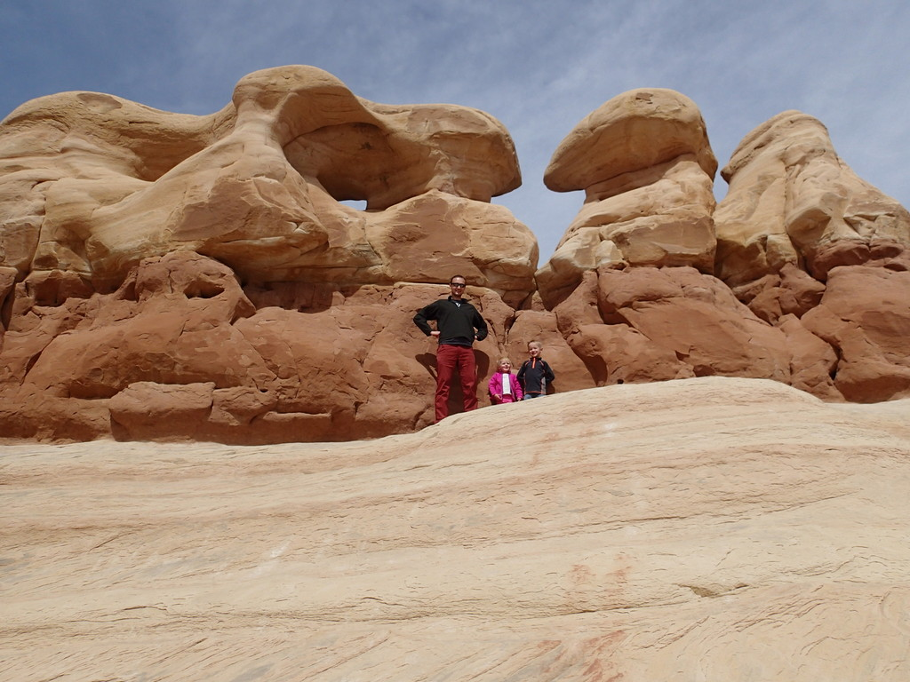 Noel and the kids playing on the hoodoos.