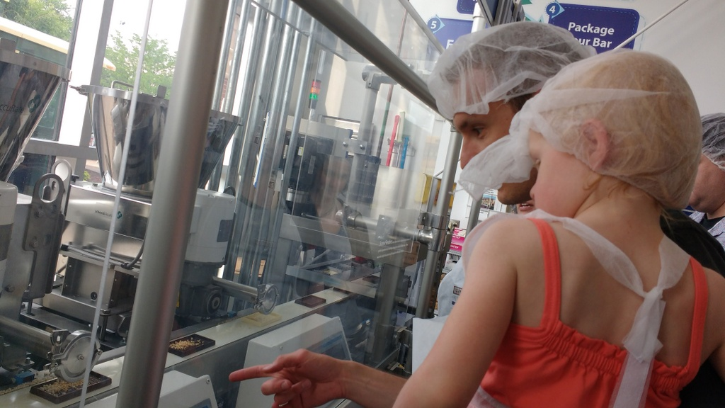 Watching our candy bars go down the assembly line.