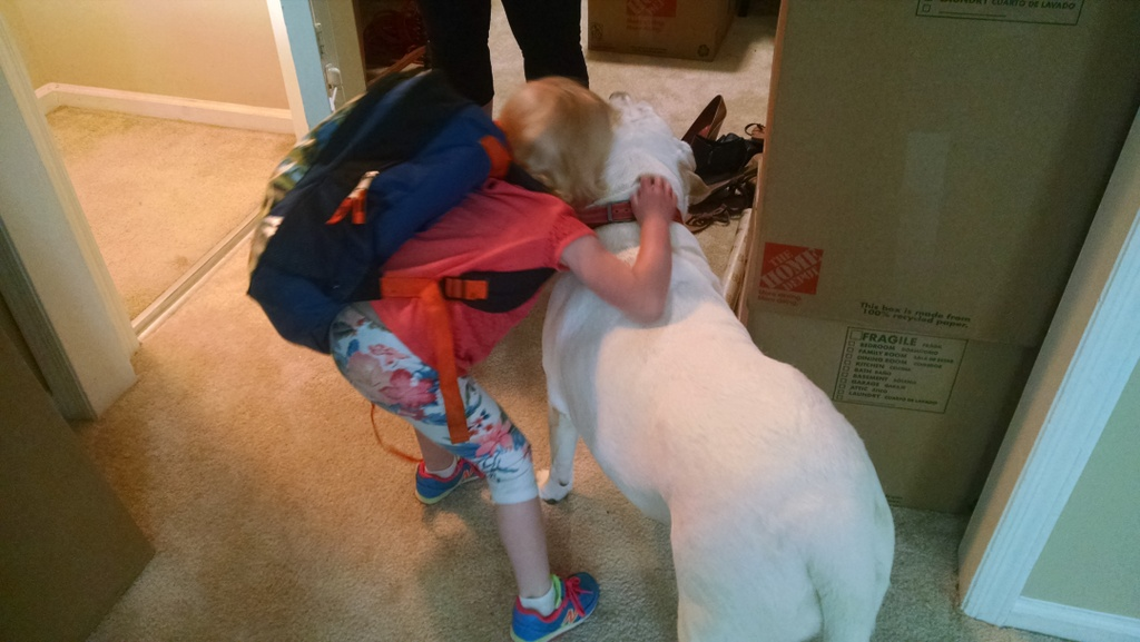 The kids loved playing with Bassie and had tender goodbyes.