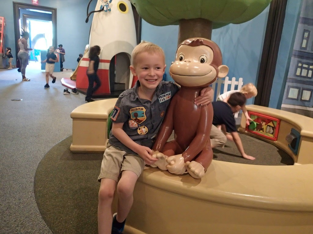 The Touch Museum had a huge Curious George exhibit, which was much beloved by Cooper.