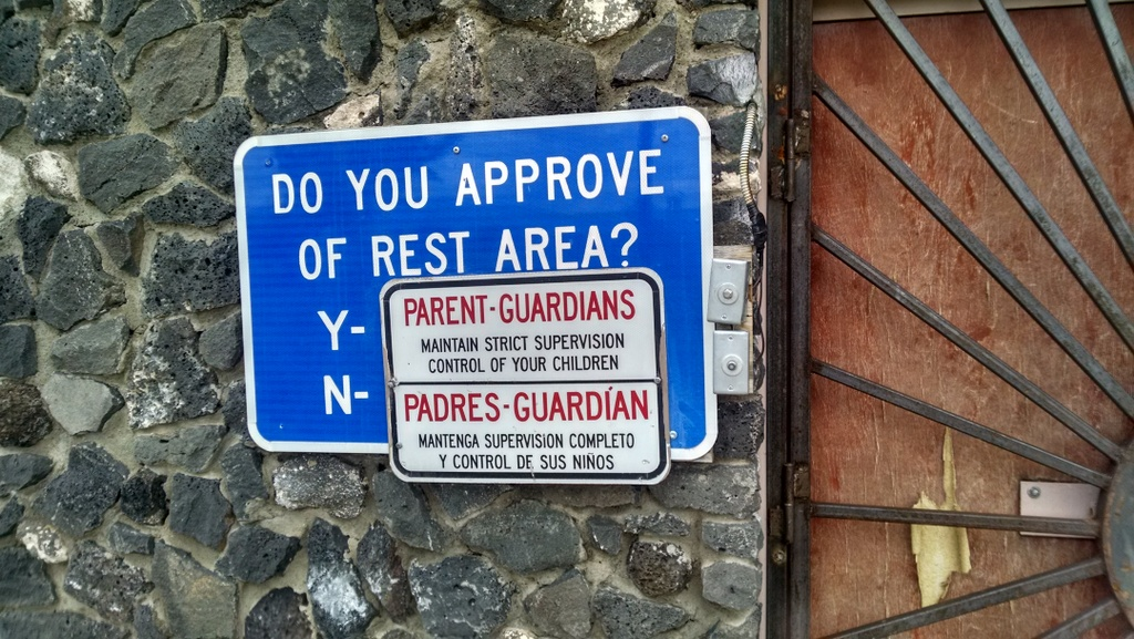 Sign at a rest stop in New Mexico. So if you don't approve you must speak Spanish?