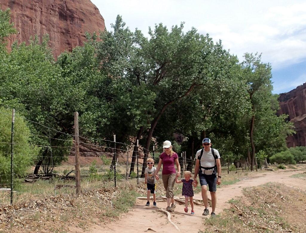 Grandkids and grandparents hiking together.