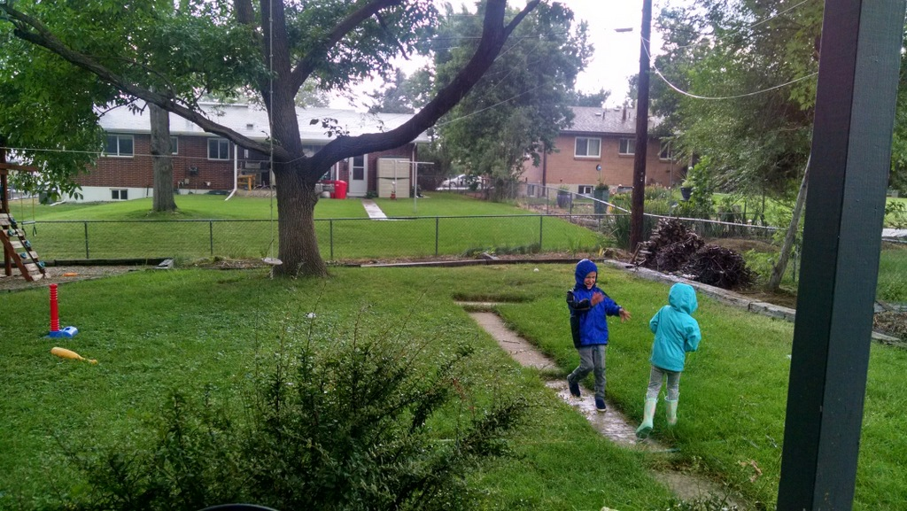 Kids frolicking in an afternoon thunderstorm.