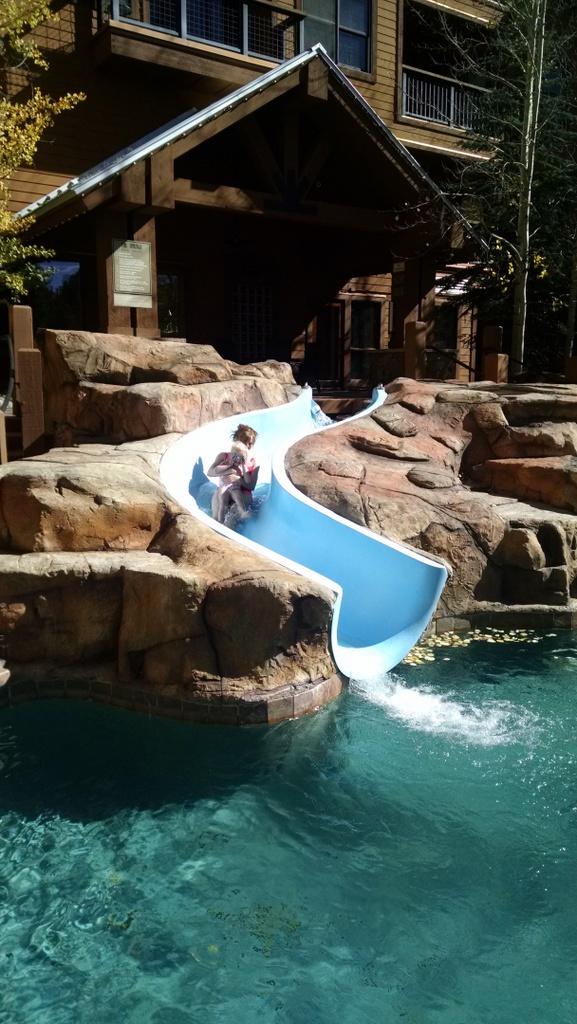 Ellen and I going down the slide.