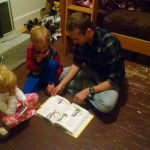 Uncle Spencer reading the kids a bedtime story. Ellen was particularly sad to say goodbye to him.