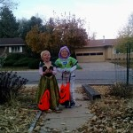 The kids getting ready to trick or treat.